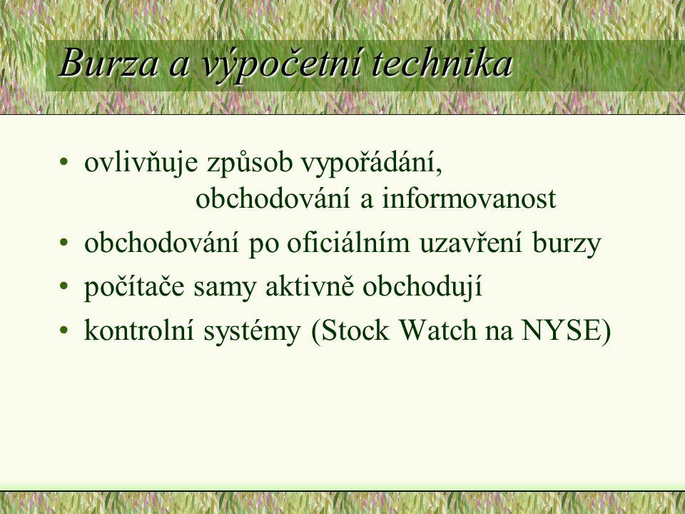 Burza a výpočetní technika ovlivňuje způsob vypořádání, obchodování a informovanost obchodování po oficiálním uzavření burzy počítače samy aktivně obchodují kontrolní systémy (Stock Watch na NYSE)