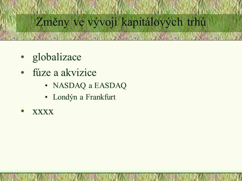 Změny ve vývoji kapitálových trhů globalizace fúze a akvizice NASDAQ a EASDAQ Londýn a Frankfurt xxxx