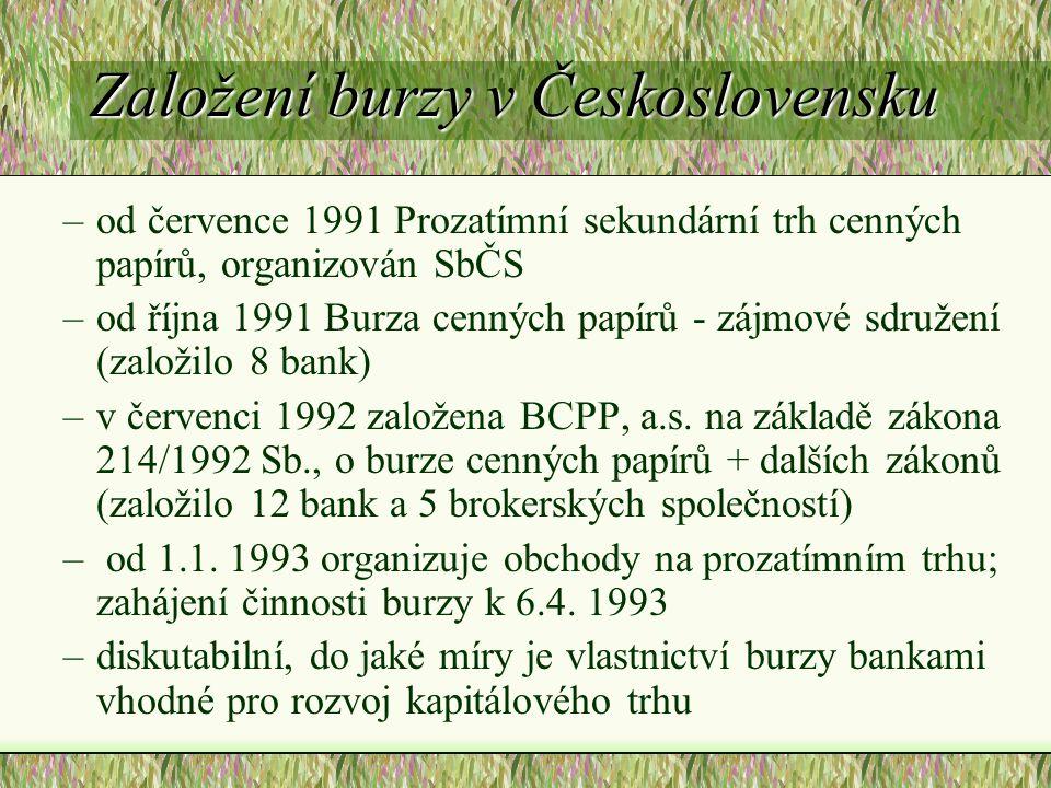 Založení burzy v Československu –od července 1991 Prozatímní sekundární trh cenných papírů, organizován SbČS –od října 1991 Burza cenných papírů - zájmové sdružení (založilo 8 bank) –v červenci 1992 založena BCPP, a.s.