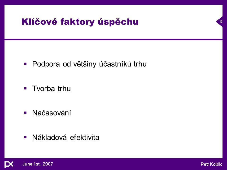 June 1st, 2007 Petr Koblic 13 Klíčové faktory úspěchu  Podpora od většiny účastníků trhu  Tvorba trhu  Načasování  Nákladová efektivita