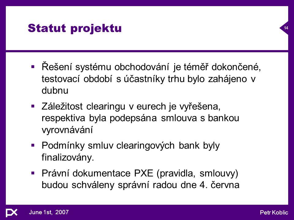 June 1st, 2007 Petr Koblic 14 Statut projektu  Řešení systému obchodování je téměř dokončené, testovací období s účastníky trhu bylo zahájeno v dubnu