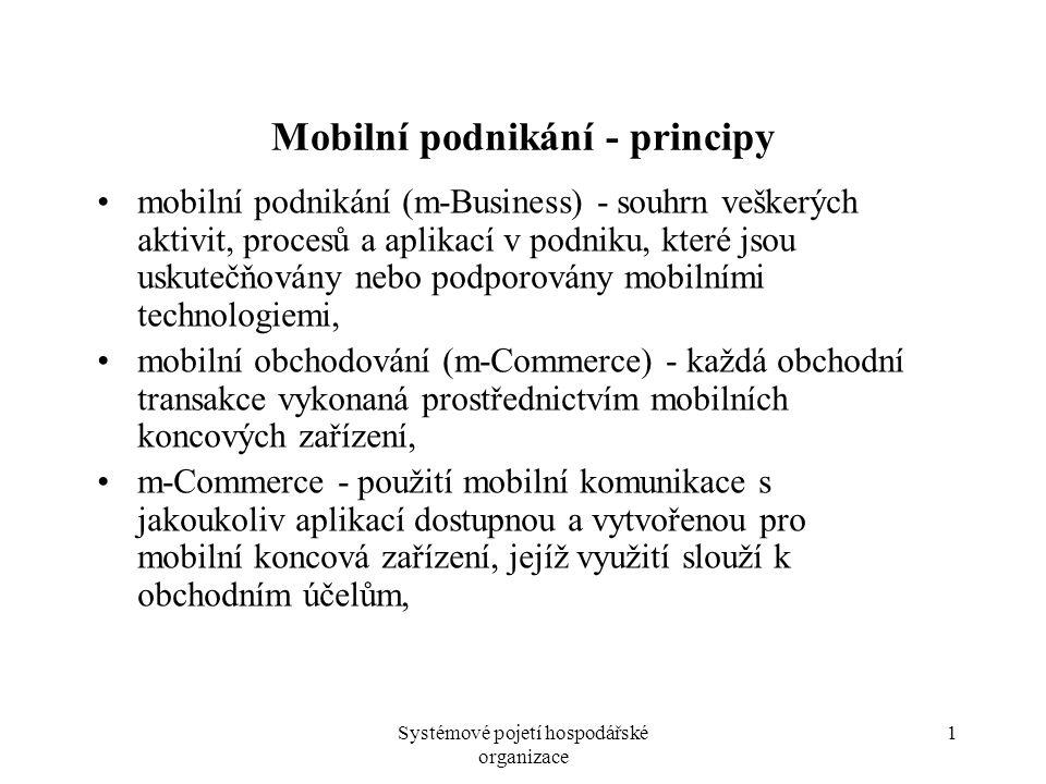 Systémové pojetí hospodářské organizace 1 Mobilní podnikání - principy mobilní podnikání (m-Business) - souhrn veškerých aktivit, procesů a aplikací v