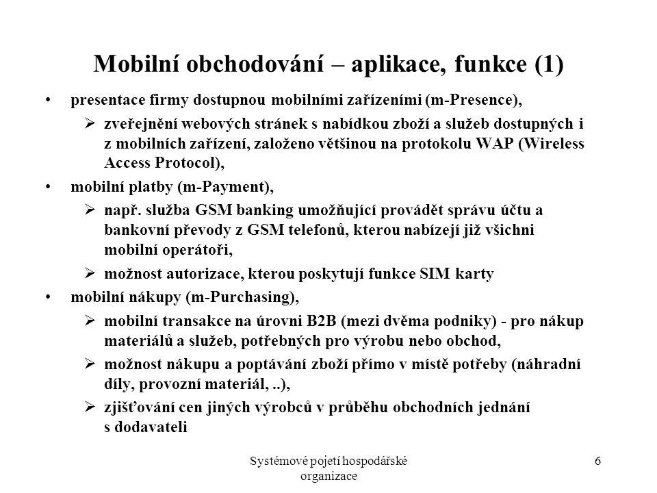 Systémové pojetí hospodářské organizace 6 Mobilní obchodování – aplikace, funkce (1) presentace firmy dostupnou mobilními zařízeními (m-Presence),  z