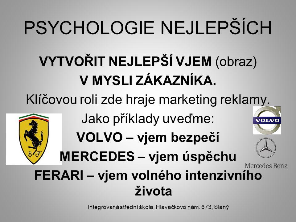PSYCHOLOGIE NEJLEPŠÍCH VYTVOŘIT NEJLEPŠÍ VJEM (obraz) V MYSLI ZÁKAZNÍKA.