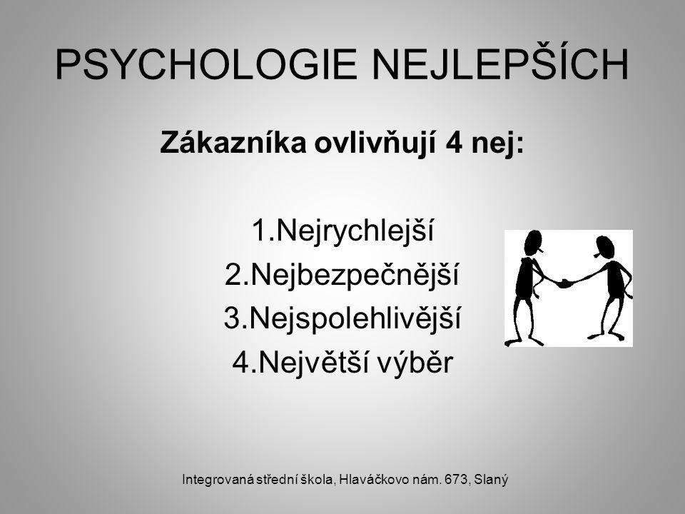 PSYCHOLOGIE NEJLEPŠÍCH Zákazníka ovlivňují 4 nej: 1.Nejrychlejší 2.Nejbezpečnější 3.Nejspolehlivější 4.Největší výběr Integrovaná střední škola, Hlaváčkovo nám.