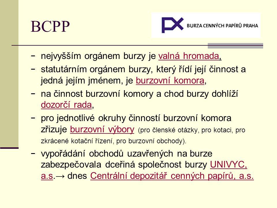 BCPP − nejvyšším orgánem burzy je valná hromada, − statutárním orgánem burzy, který řídí její činnost a jedná jejím jménem, je burzovní komora,burzovní komora − na činnost burzovní komory a chod burzy dohlíží dozorčí rada, dozorčí rada − pro jednotlivé okruhy činností burzovní komora zřizuje burzovní výbory (pro členské otázky, pro kotaci, pro zkrácené kotační řízení, pro burzovní obchody).burzovní výbory − vypořádání obchodů uzavřených na burze zabezpečovala dceřiná společnost burzy UNIVYC, a.s.→ dnes Centrální depozitář cenných papírů, a.s.UNIVYC, a.s