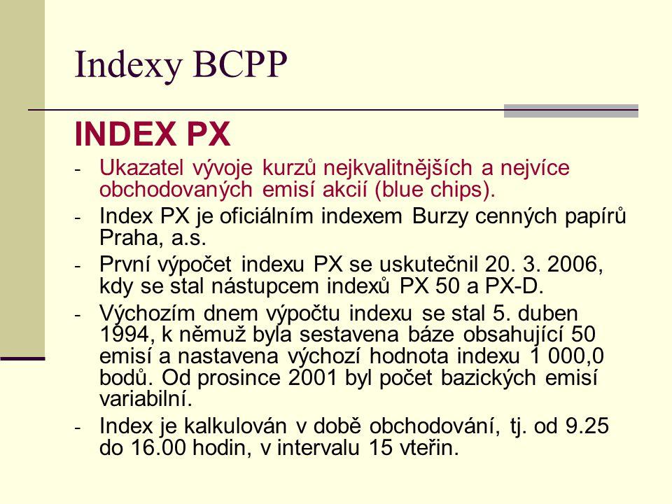 Indexy BCPP INDEX PX - Ukazatel vývoje kurzů nejkvalitnějších a nejvíce obchodovaných emisí akcií (blue chips). - Index PX je oficiálním indexem Burzy