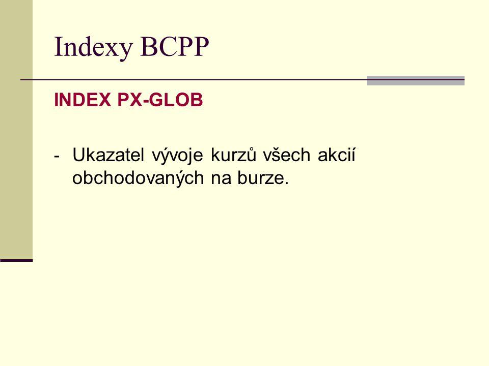 Indexy BCPP INDEX PX-GLOB - Ukazatel vývoje kurzů všech akcií obchodovaných na burze.