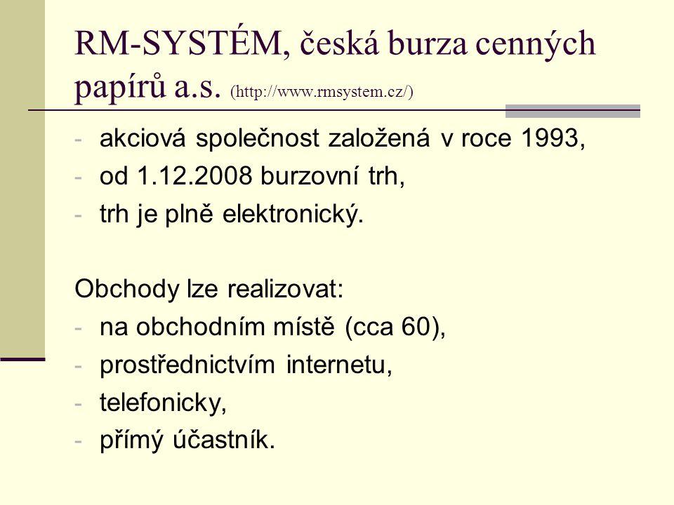 RM-SYSTÉM, česká burza cenných papírů a.s. (http://www.rmsystem.cz/) - akciová společnost založená v roce 1993, - od 1.12.2008 burzovní trh, - trh je