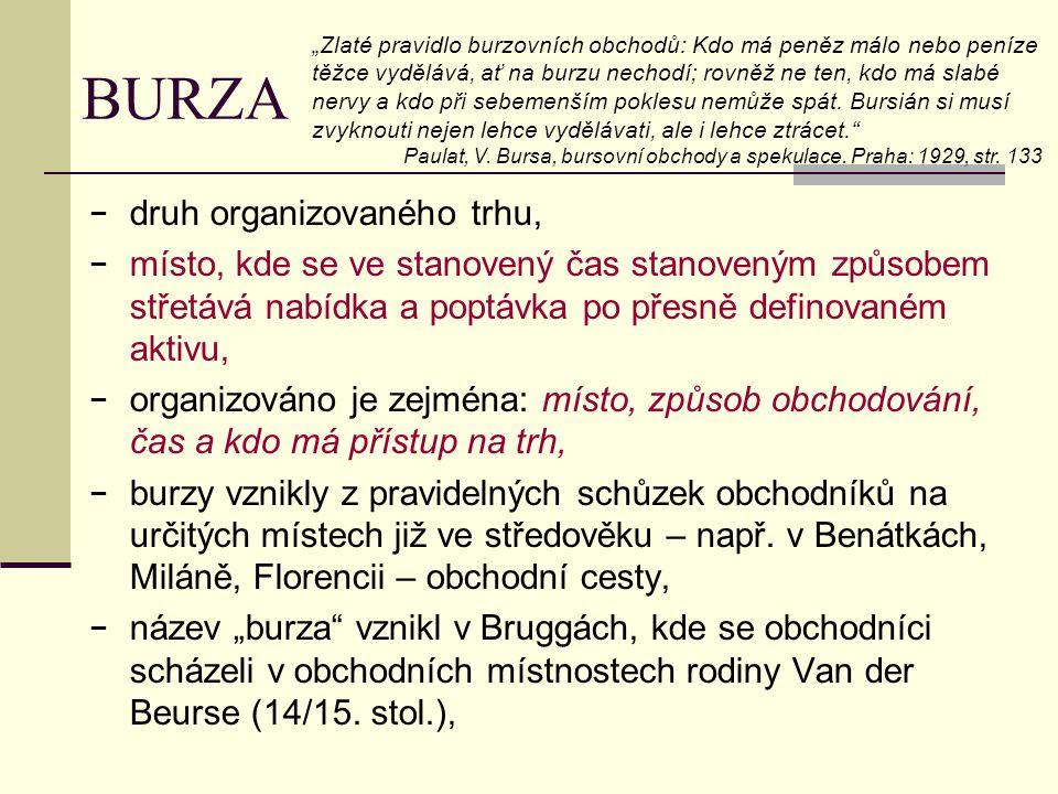 BURZA − druh organizovaného trhu, − místo, kde se ve stanovený čas stanoveným způsobem střetává nabídka a poptávka po přesně definovaném aktivu, − org