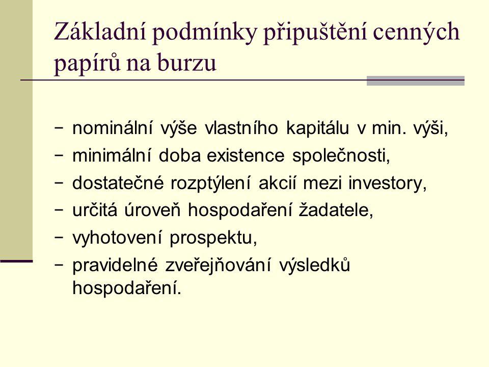 Základní podmínky připuštění cenných papírů na burzu − nominální výše vlastního kapitálu v min. výši, − minimální doba existence společnosti, − dostat