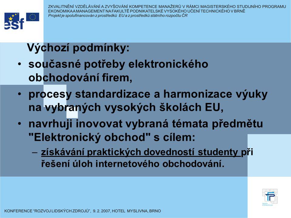 Výchozí podmínky: současné potřeby elektronického obchodování firem, procesy standardizace a harmonizace výuky na vybraných vysokých školách EU, navrh
