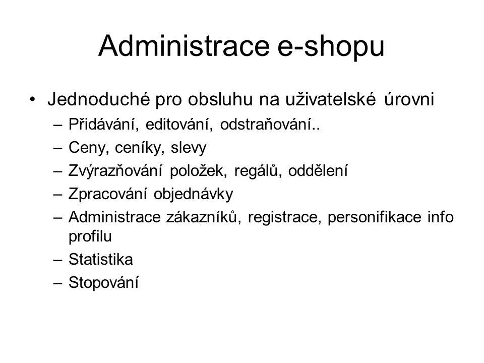 Administrace e-shopu Jednoduché pro obsluhu na uživatelské úrovni –Přidávání, editování, odstraňování.. –Ceny, ceníky, slevy –Zvýrazňování položek, re