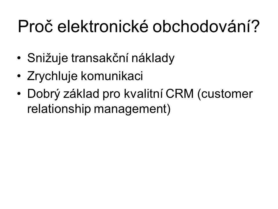 Proč elektronické obchodování? Snižuje transakční náklady Zrychluje komunikaci Dobrý základ pro kvalitní CRM (customer relationship management)
