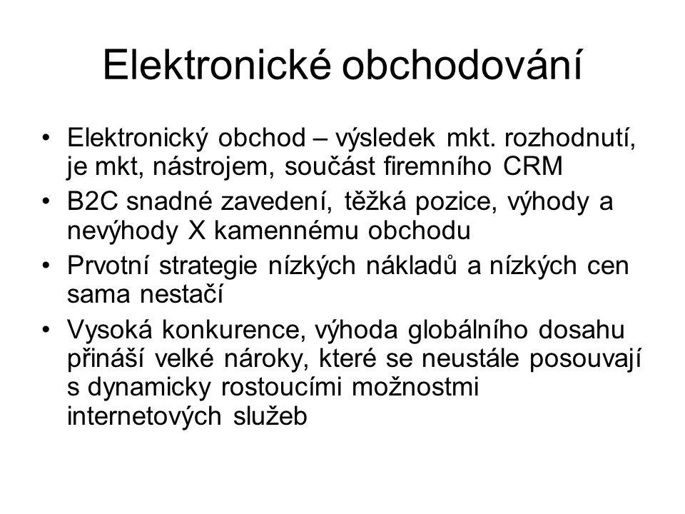 Elektronické obchodování Elektronický obchod – výsledek mkt. rozhodnutí, je mkt, nástrojem, součást firemního CRM B2C snadné zavedení, těžká pozice, v