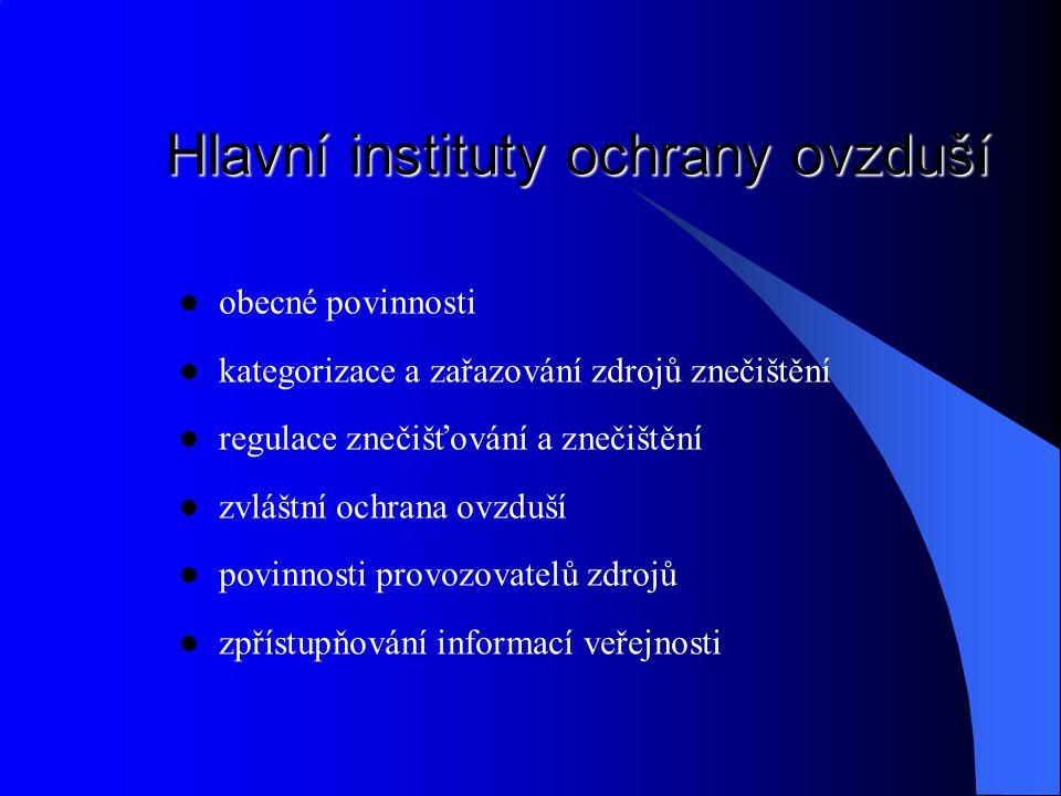 Hlavní instituty ochrany ovzduší obecné povinnosti kategorizace a zařazování zdrojů znečištění regulace znečišťování a znečištění zvláštní ochrana ovz