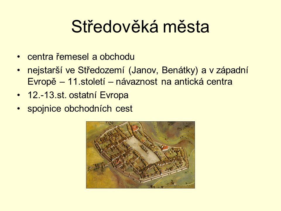 Středověká města centra řemesel a obchodu nejstarší ve Středozemí (Janov, Benátky) a v západní Evropě – 11.století – návaznost na antická centra 12.-1