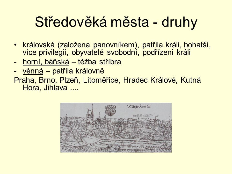 Středověká města - druhy královská (založena panovníkem), patřila králi, bohatší, více privilegií, obyvatelé svobodní, podřízeni králi -horní, báňská