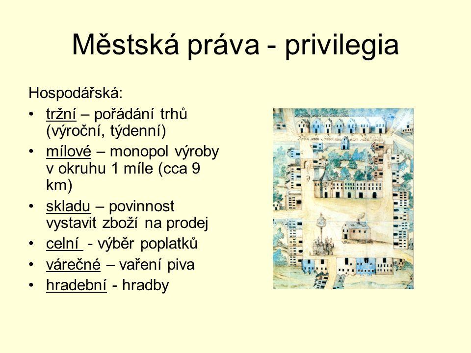 Městská práva - privilegia Hospodářská: tržní – pořádání trhů (výroční, týdenní) mílové – monopol výroby v okruhu 1 míle (cca 9 km) skladu – povinnost