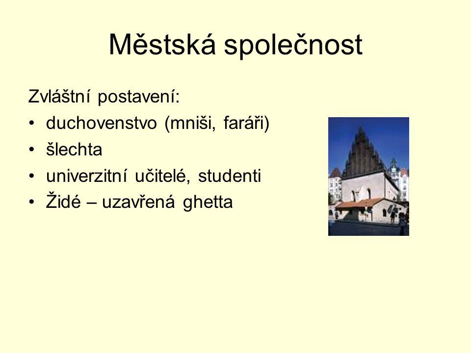 Městská společnost Zvláštní postavení: duchovenstvo (mniši, faráři) šlechta univerzitní učitelé, studenti Židé – uzavřená ghetta