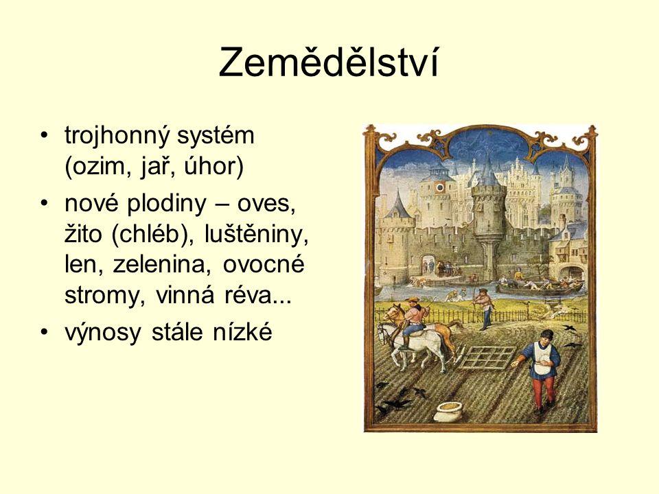 Zemědělství trojhonný systém (ozim, jař, úhor) nové plodiny – oves, žito (chléb), luštěniny, len, zelenina, ovocné stromy, vinná réva... výnosy stále