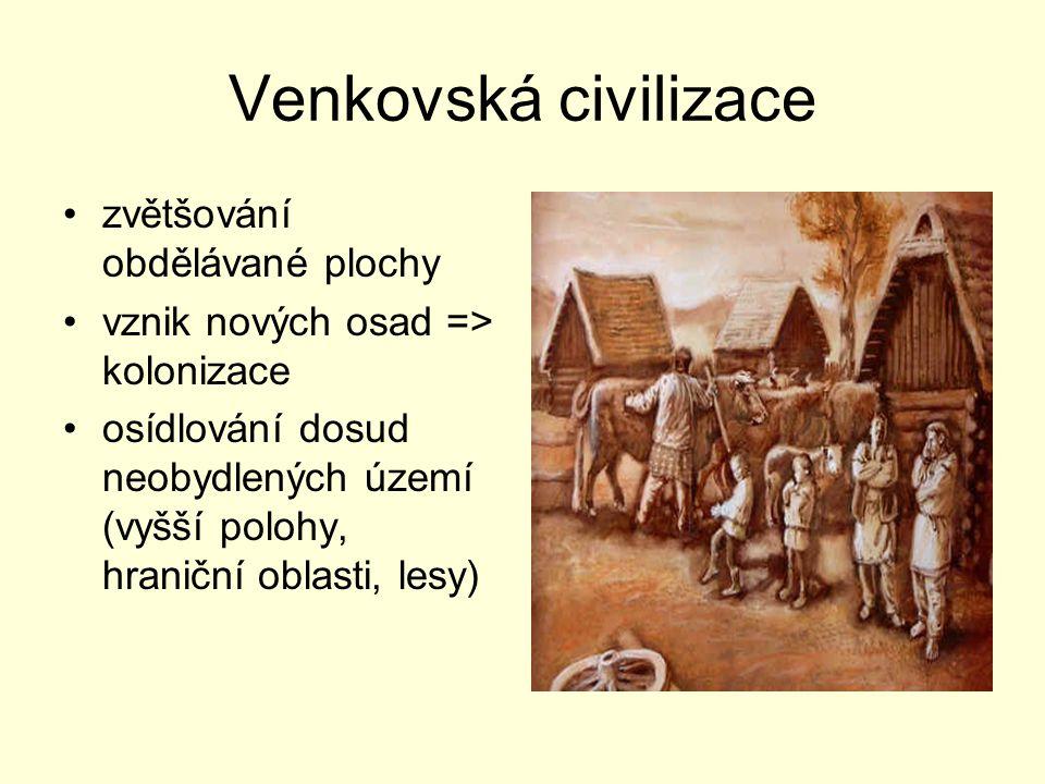 Venkovská civilizace zvětšování obdělávané plochy vznik nových osad => kolonizace osídlování dosud neobydlených území (vyšší polohy, hraniční oblasti,