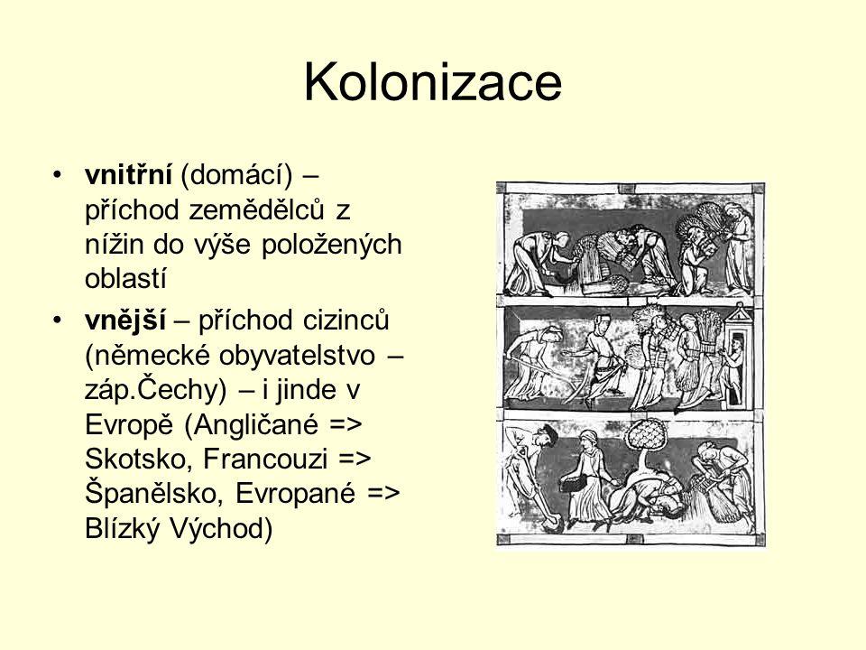 Kolonizace vnitřní (domácí) – příchod zemědělců z nížin do výše položených oblastí vnější – příchod cizinců (německé obyvatelstvo – záp.Čechy) – i jin