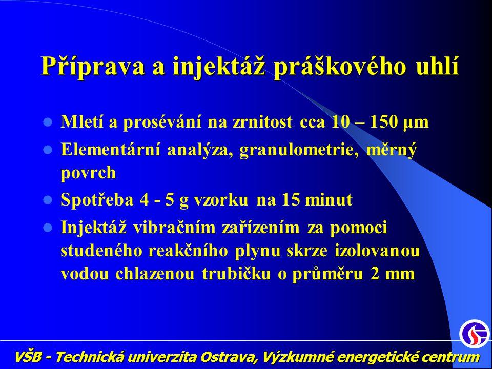 VŠB - Technická univerzita Ostrava, Výzkumné energetické centrum Příprava a injektáž práškového uhlí Mletí a prosévání na zrnitost cca 10 – 150 μm Ele