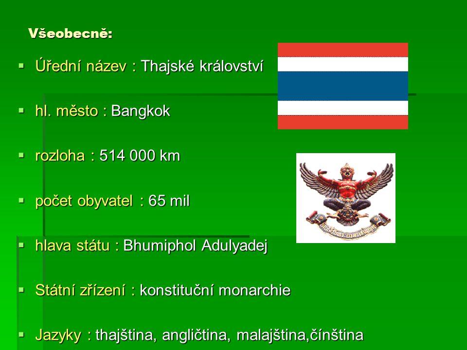 Všeobecně:  Úřední název : Thajské království  hl. město : Bangkok  rozloha : 514 000 km  počet obyvatel : 65 mil  hlava státu : Bhumiphol Adulya
