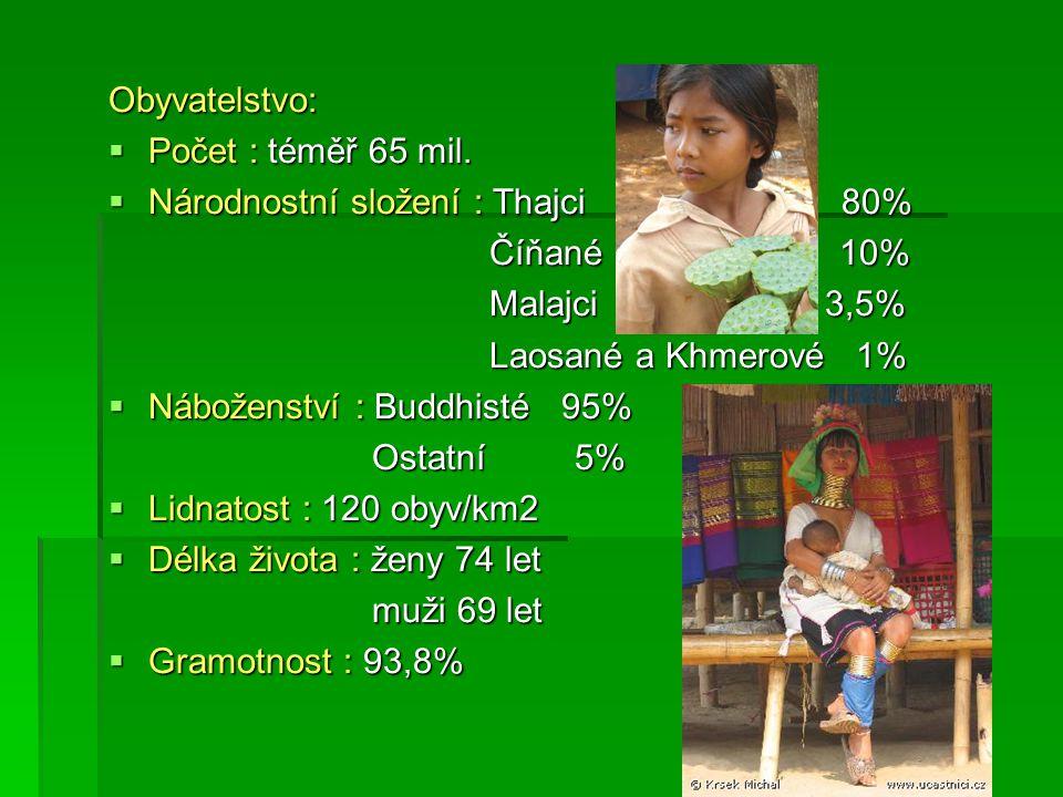 Obyvatelstvo:  Počet : téměř 65 mil.  Národnostní složení : Thajci 80% Číňané 10% Číňané 10% Malajci 3,5% Malajci 3,5% Laosané a Khmerové 1% Laosané
