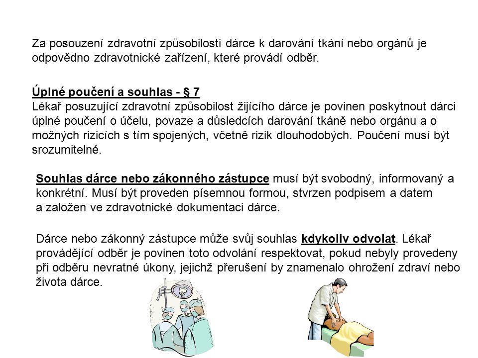 Podmínění odběru od žijícího dárce - § 8 Odběr orgánu od žijícího dárce lze provést pouze ve prospěch osoby, kterou dárce určil.