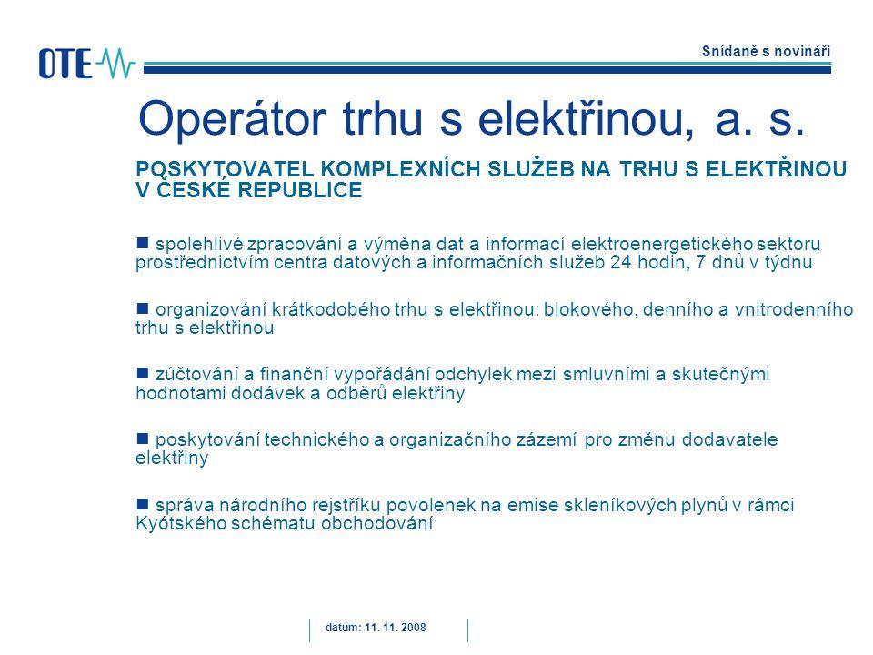 Snídaně s novináři datum: 11. 11. 2008 Operátor trhu s elektřinou, a.