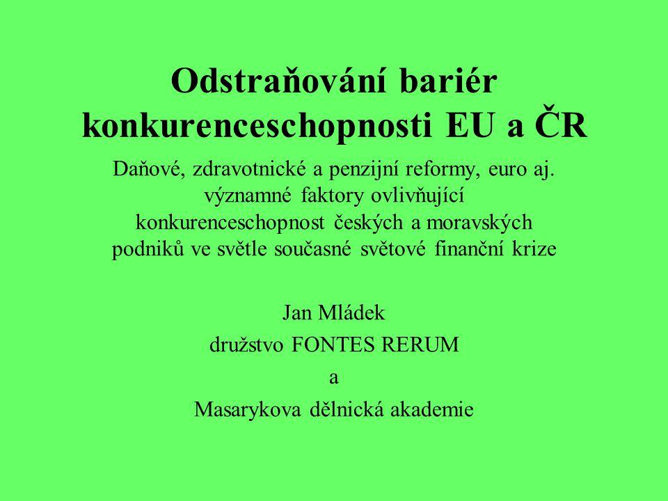 Odstraňování bariér konkurenceschopnosti EU a ČR Daňové, zdravotnické a penzijní reformy, euro aj.