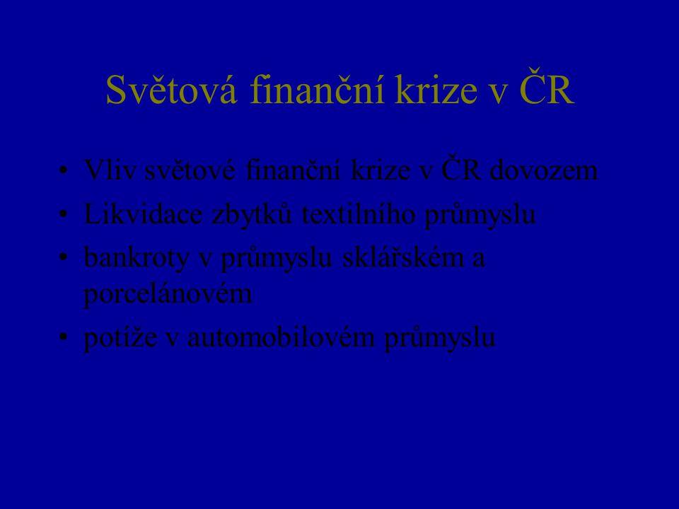 Světová finanční krize v ČR Vliv světové finanční krize v ČR dovozem Likvidace zbytků textilního průmyslu bankroty v průmyslu sklářském a porcelánovém potíže v automobilovém průmyslu