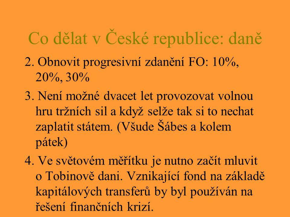 Co dělat v České republice: daně 2.Obnovit progresivní zdanění FO: 10%, 20%, 30% 3.