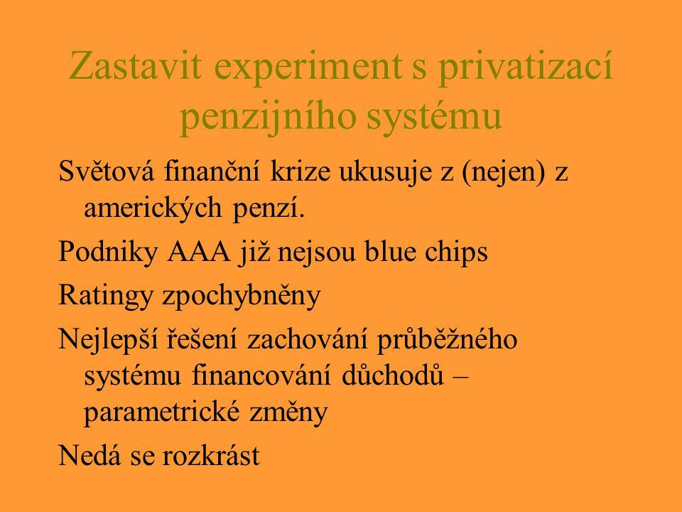 Zastavit experiment s privatizací penzijního systému Světová finanční krize ukusuje z (nejen) z amerických penzí.
