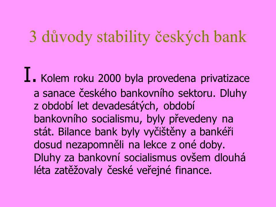 3 důvody stability českých bank I.