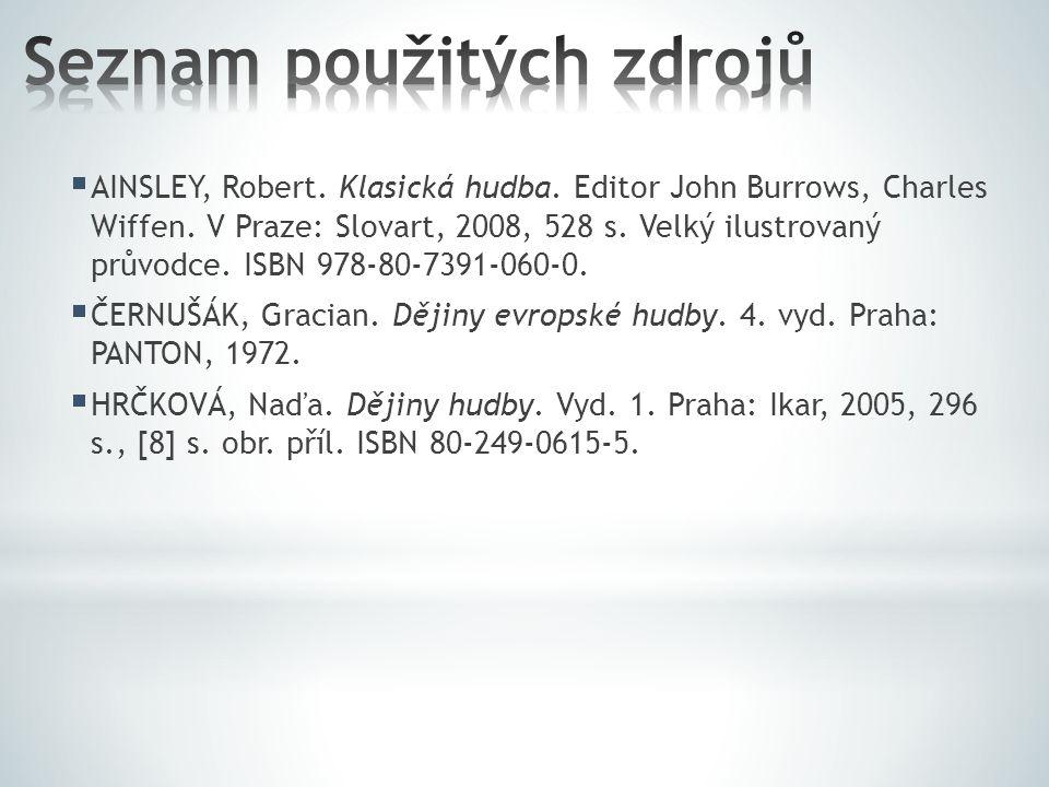  AINSLEY, Robert. Klasická hudba. Editor John Burrows, Charles Wiffen. V Praze: Slovart, 2008, 528 s. Velký ilustrovaný průvodce. ISBN 978-80-7391-06