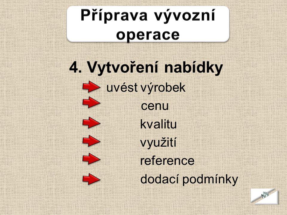 4. Vytvoření nabídky uvést výrobek cenu kvalitu využití reference dodací podmínky 23