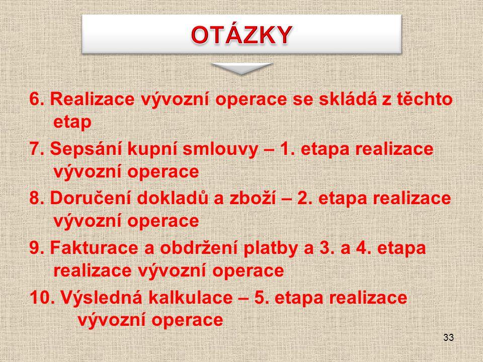 6. Realizace vývozní operace se skládá z těchto etap 7. Sepsání kupní smlouvy – 1. etapa realizace vývozní operace 8. Doručení dokladů a zboží – 2. et