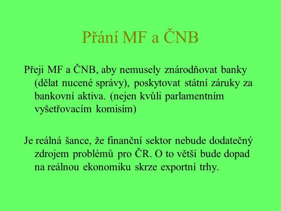 Přání MF a ČNB Přeji MF a ČNB, aby nemusely znárodňovat banky (dělat nucené správy), poskytovat státní záruky za bankovní aktiva.