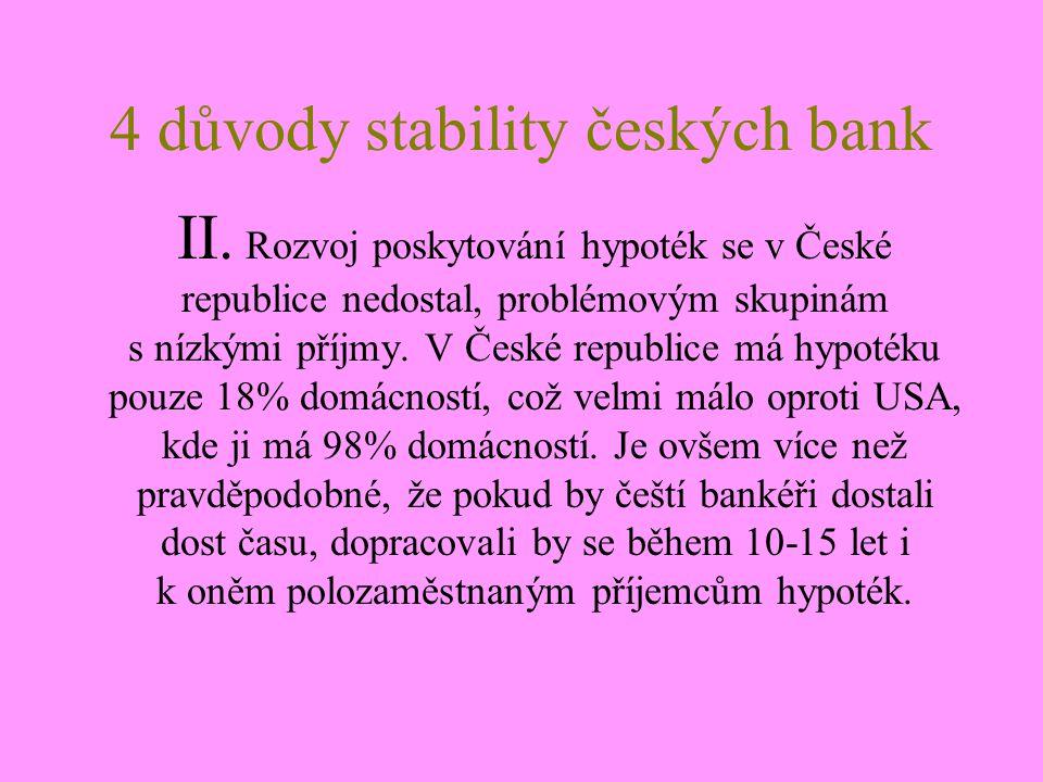 4 důvody stability českých bank III.