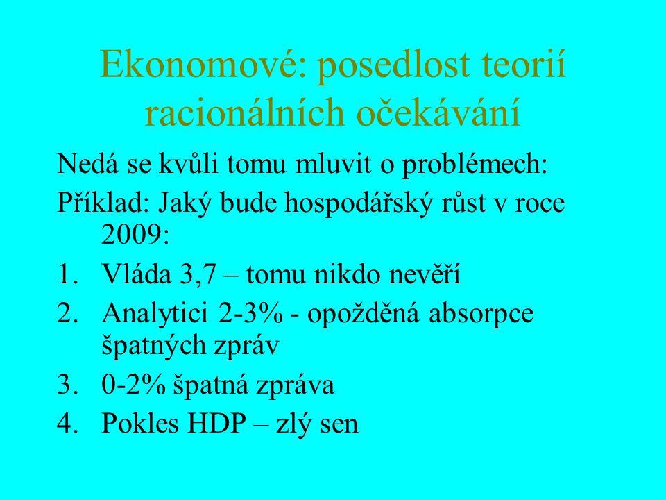 Ekonomové: posedlost teorií racionálních očekávání Nedá se kvůli tomu mluvit o problémech: Příklad: Jaký bude hospodářský růst v roce 2009: 1.Vláda 3,7 – tomu nikdo nevěří 2.Analytici 2-3% - opožděná absorpce špatných zpráv 3.0-2% špatná zpráva 4.Pokles HDP – zlý sen
