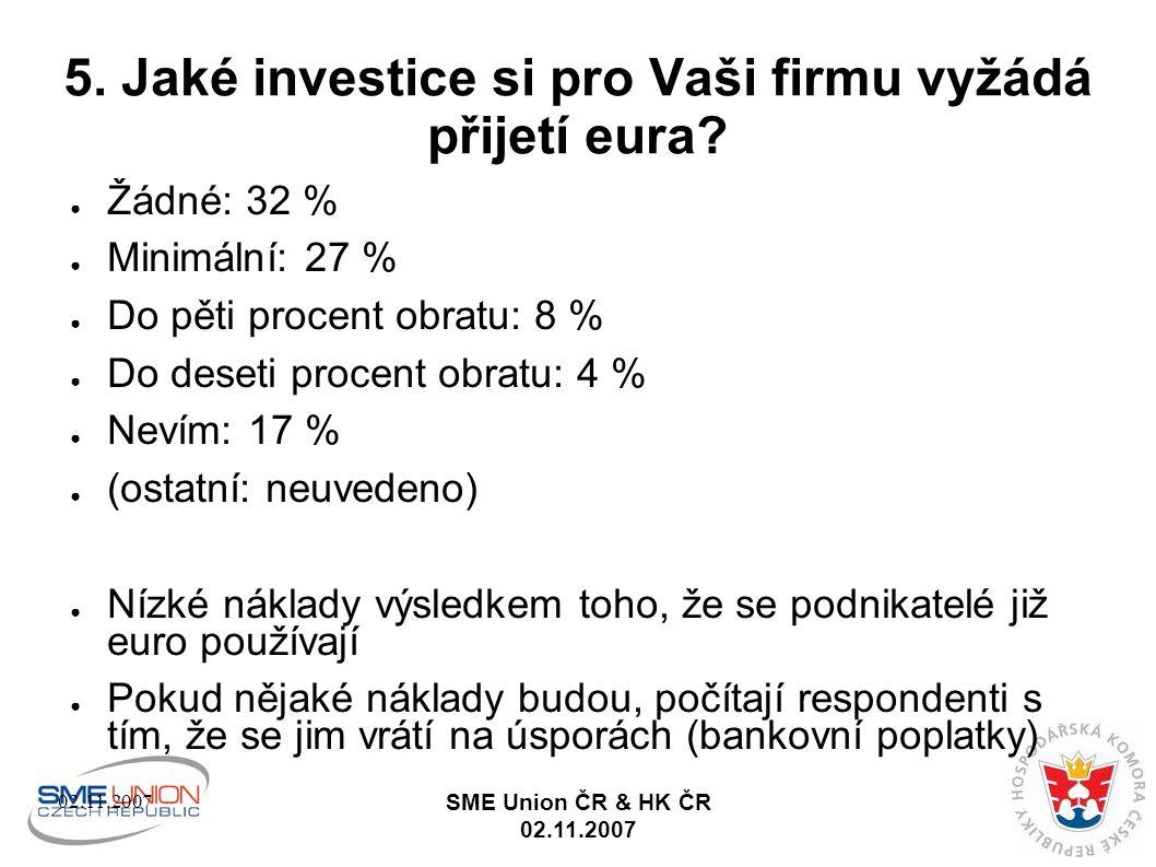 02.11.2007 SME Union ČR & HK ČR 02.11.2007 5. Jaké investice si pro Vaši firmu vyžádá přijetí eura.