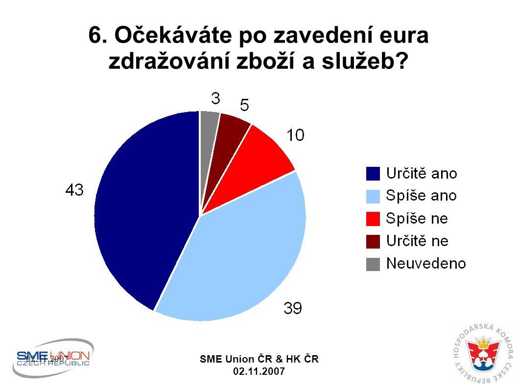 02.11.2007 SME Union ČR & HK ČR 02.11.2007 6. Očekáváte po zavedení eura zdražování zboží a služeb