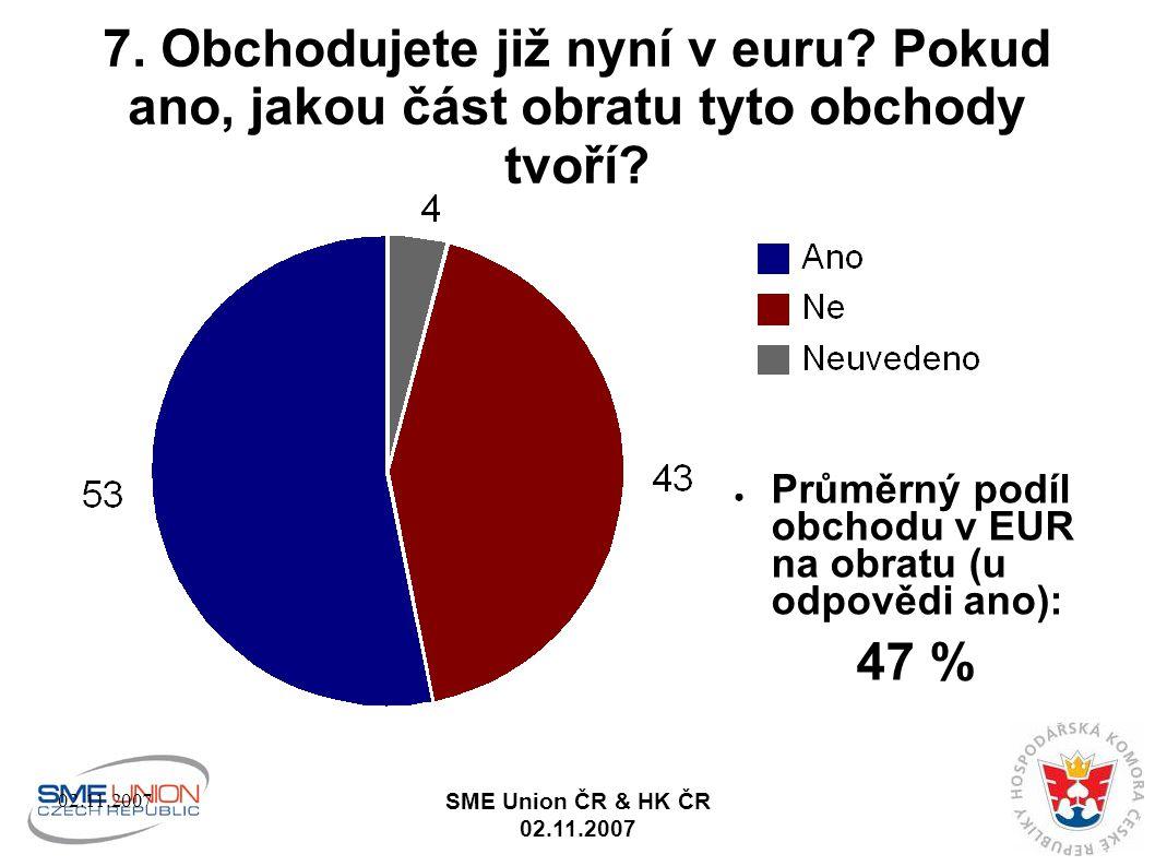 02.11.2007 SME Union ČR & HK ČR 02.11.2007 7. Obchodujete již nyní v euru.