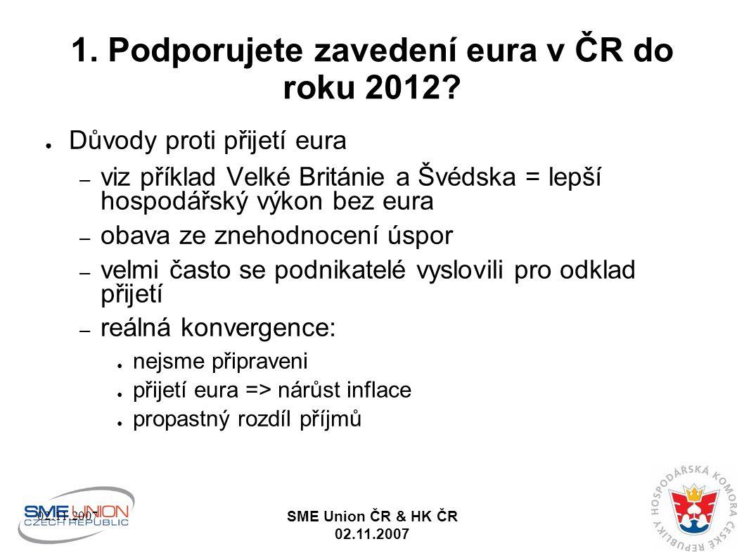02.11.2007 SME Union ČR & HK ČR 02.11.2007 2.