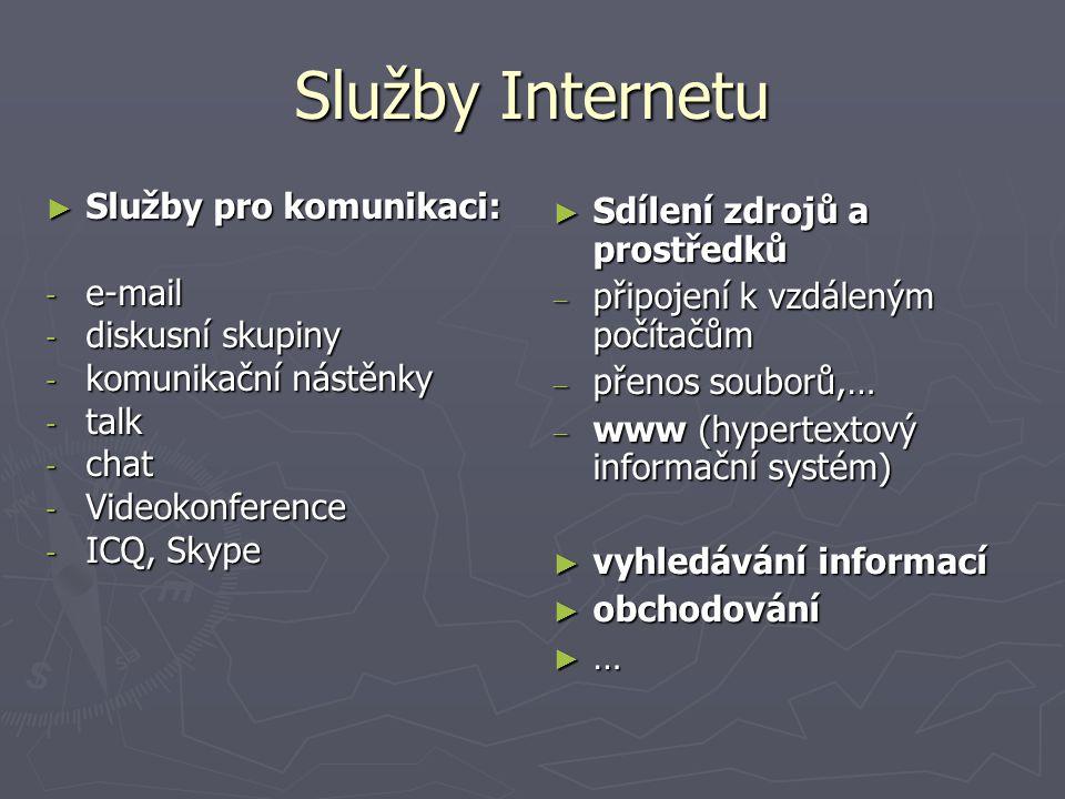 Služby Internetu ► Služby pro komunikaci: - e-mail - diskusní skupiny - komunikační nástěnky - talk - chat - Videokonference - ICQ, Skype ► Sdílení zd
