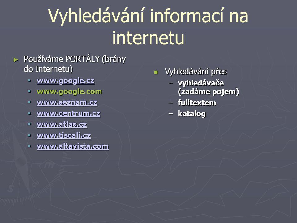 Vyhledávání informací na internetu ► Používáme PORTÁLY (brány do Internetu)  www.google.cz www.google.cz  www.google.com  www.seznam.cz www.seznam.cz  www.centrum.cz www.centrum.cz  www.atlas.cz www.atlas.cz  www.tiscali.cz www.tiscali.cz  www.altavista.com www.altavista.com Vyhledávání přes Vyhledávání přes –vyhledávače (zadáme pojem) –fulltextem –katalog