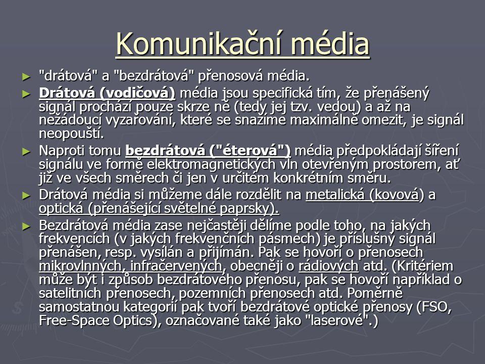 Komunikační média ► drátová a bezdrátová přenosová média.